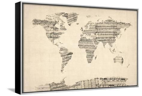 Map of the World Map from Old Sheet Music-Michael Tompsett-Framed Canvas Print