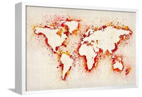 Map of the World Paint Splashes-Michael Tompsett-Framed Canvas Print