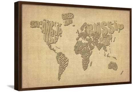 Typography Map of the World Map-Michael Tompsett-Framed Canvas Print