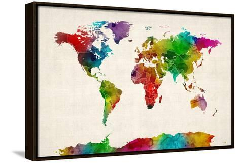 Watercolor Map of the World Map-Michael Tompsett-Framed Canvas Print