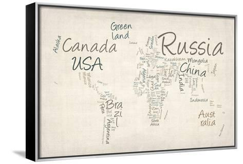 Writing Text Map of the World Map-Michael Tompsett-Framed Canvas Print