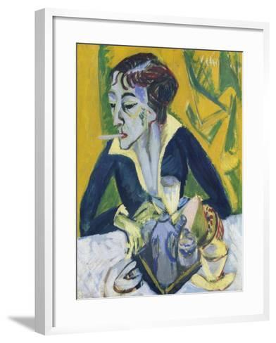 Erna Mit Zigarette, 1913-Ernst Ludwig Kirchner-Framed Art Print