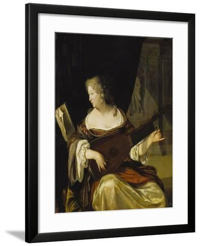 Woman Tuning Her Lute, 1678-Eglon Hendrick Van Der Neer-Framed Art Print
