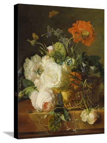 Basket of Flowers. (Undated)-Jan van Huysum-Stretched Canvas Print