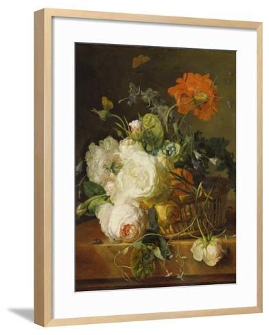 Basket of Flowers. (Undated)-Jan van Huysum-Framed Art Print