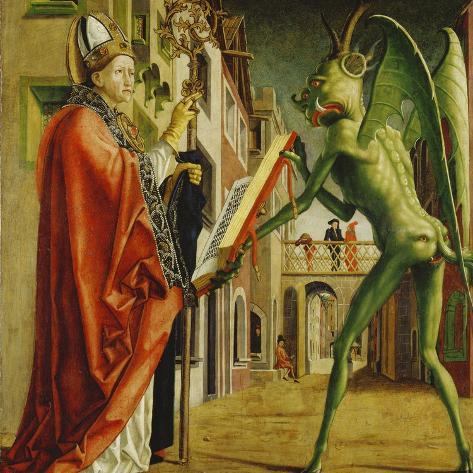 Church Father Altar. Right Outer Wing: St. Augustin and Satan-Michael Pacher-Stretched Canvas Print