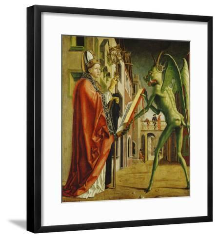 Church Father Altar. Right Outer Wing: St. Augustin and Satan-Michael Pacher-Framed Art Print