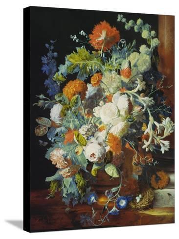Flower Bouquet Next to a Column-Jan van Huysum-Stretched Canvas Print