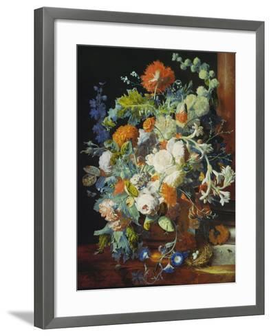 Flower Bouquet Next to a Column-Jan van Huysum-Framed Art Print