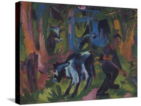 Kuehe Im Wald, 1920/21-Ernst Ludwig Kirchner-Stretched Canvas Print