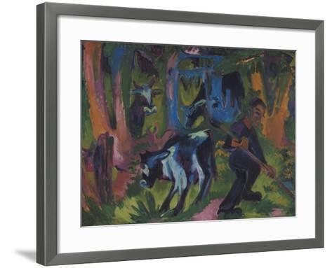 Kuehe Im Wald, 1920/21-Ernst Ludwig Kirchner-Framed Art Print