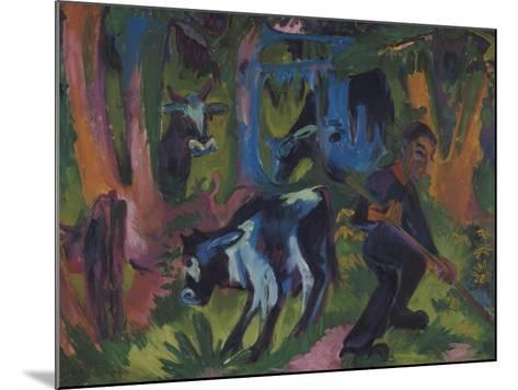 Kuehe Im Wald, 1920/21-Ernst Ludwig Kirchner-Mounted Giclee Print