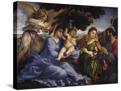 Maria Mit dem Kind Und Den Hll.Katharina Und James the Greater, um 1533-Lorenzo Lotto-Stretched Canvas Print