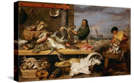 A Fish Market . (The Characters of Cornelis De Vos)-Frans Snyders-Stretched Canvas Print