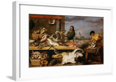 A Fish Market . (The Characters of Cornelis De Vos)-Frans Snyders-Framed Art Print