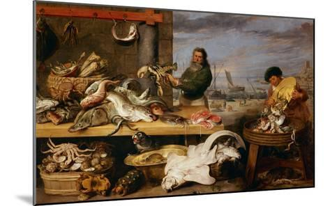A Fish Market . (The Characters of Cornelis De Vos)-Frans Snyders-Mounted Giclee Print