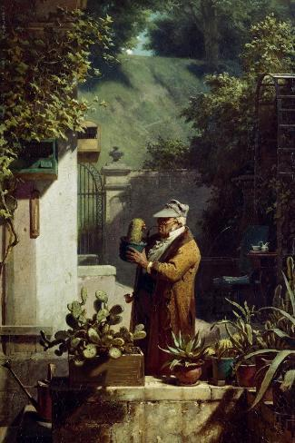 The Cactus Lover. before 1858-Carl Spitzweg-Stretched Canvas Print