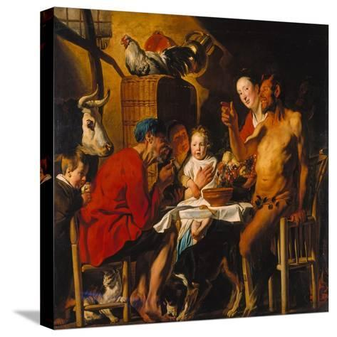 The Satyr with the Peasants. after 1620-Jacob Jordaens-Stretched Canvas Print