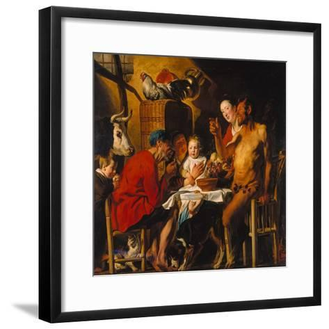 The Satyr with the Peasants. after 1620-Jacob Jordaens-Framed Art Print