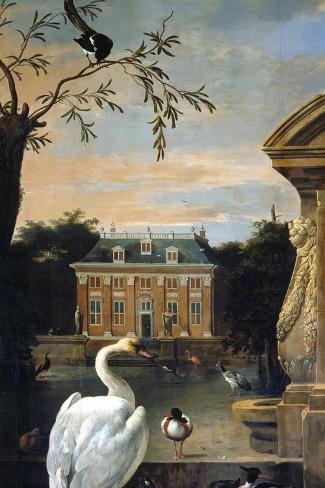 Gefluegel Im Hofe Eines Landhauses-Melchior d'Hondecoeter-Stretched Canvas Print
