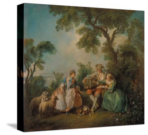 The Birdcage (Les Amours Du Bocage), about 1735-Nicolas Lancret-Stretched Canvas Print