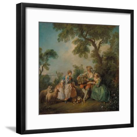 The Birdcage (Les Amours Du Bocage), about 1735-Nicolas Lancret-Framed Art Print
