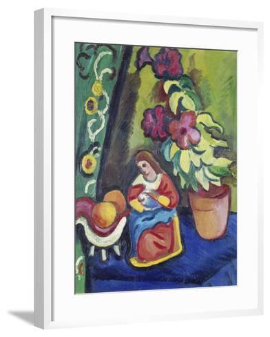 Stilleben Mit Madonna, Petunie Und Aepfeln, 1911-Auguste Macke-Framed Art Print