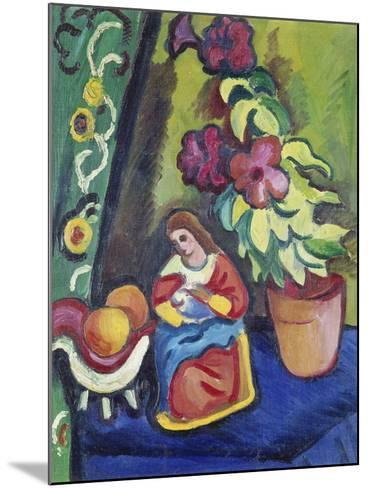 Stilleben Mit Madonna, Petunie Und Aepfeln, 1911-Auguste Macke-Mounted Giclee Print