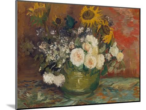 Sunflowers, Roses and Other Flowers in a Bowl, 1886-Vincent van Gogh-Mounted Giclee Print