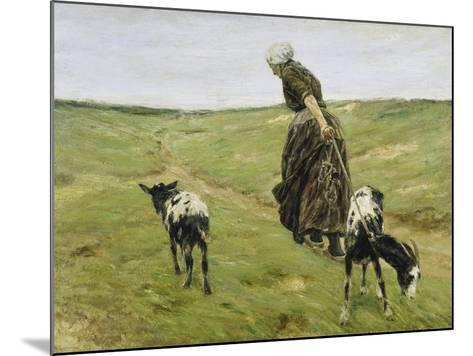 Woman with Goats on the Dunes, 1890-Max Liebermann-Mounted Giclee Print