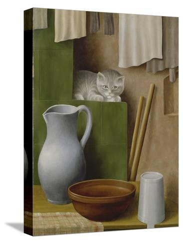 Still Life with Cat, 1923-Georg Schrimpf-Stretched Canvas Print