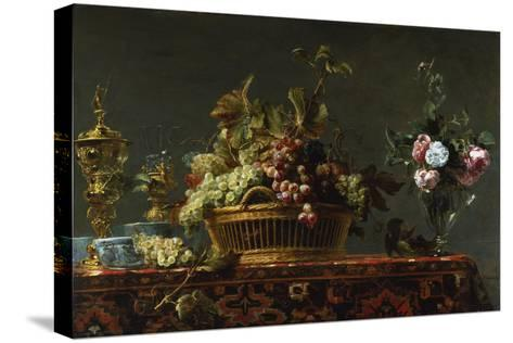 Grapes in a Basket and Roses in a Vase-Frans Snyders-Stretched Canvas Print