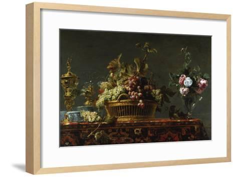 Grapes in a Basket and Roses in a Vase-Frans Snyders-Framed Art Print