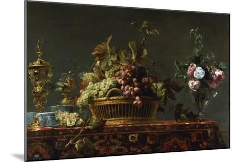 Grapes in a Basket and Roses in a Vase-Frans Snyders-Mounted Giclee Print