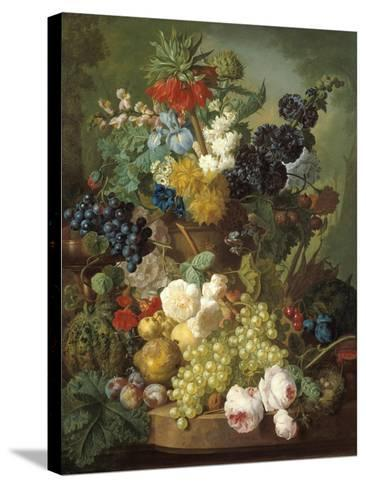Still Life with Fruit and Flowers-Jan van Os-Stretched Canvas Print