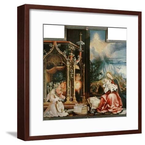Isenheimer Altar. Inner Center Panel: Angel Concert and Nativitiy-Matthias Gr?newald-Framed Art Print