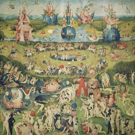 The Garden of Earthly Delights. Central Panel of Triptych-Hieronymus Bosch-Stretched Canvas Print