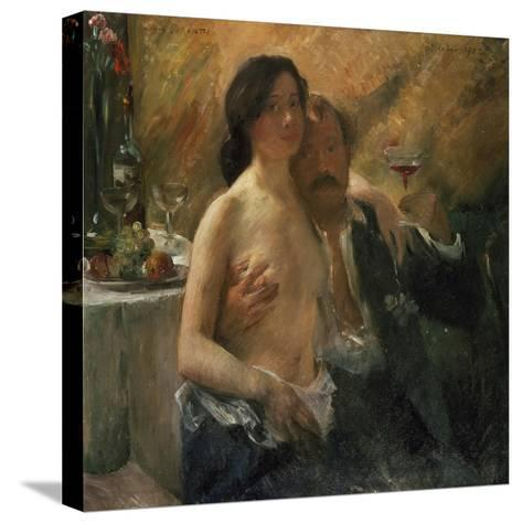 Self-Portrait with His Wife and Sekt Glass, 1902-Lovis Corinth-Stretched Canvas Print