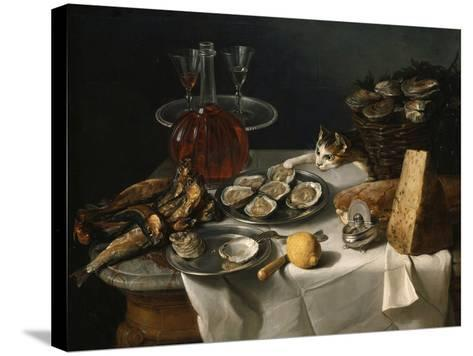 Still Life with Cat-Alexandre-Francois Desportes-Stretched Canvas Print