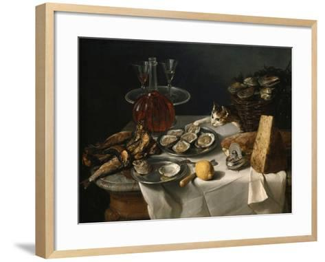Still Life with Cat-Alexandre-Francois Desportes-Framed Art Print
