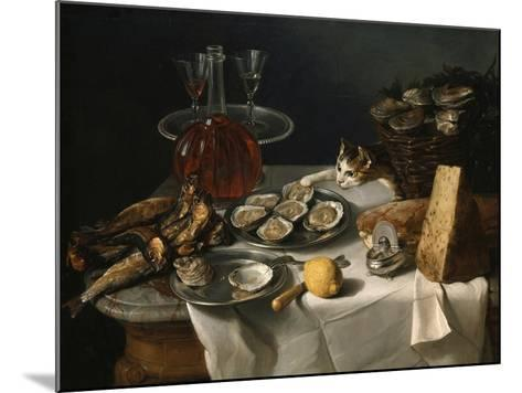 Still Life with Cat-Alexandre-Francois Desportes-Mounted Giclee Print