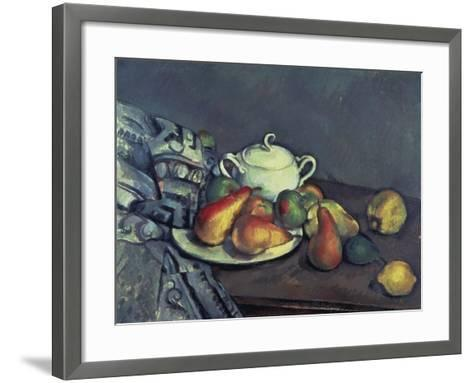 Still Life with Sugar Can, Pears and Tablecloth-Paul C?zanne-Framed Art Print