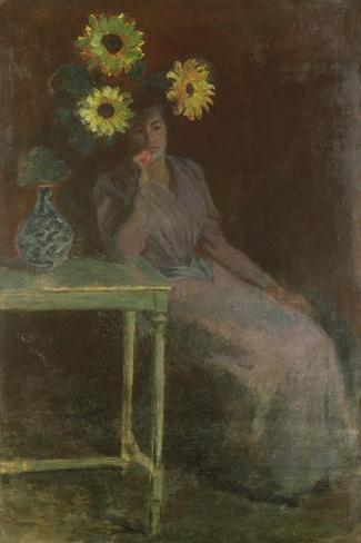 Woman Seated with Sunflowers-Claude Monet-Stretched Canvas Print