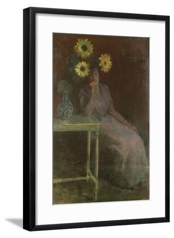 Woman Seated with Sunflowers-Claude Monet-Framed Art Print