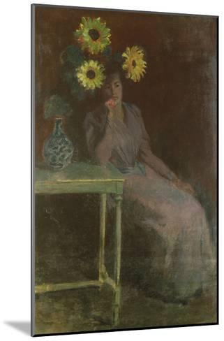 Woman Seated with Sunflowers-Claude Monet-Mounted Giclee Print