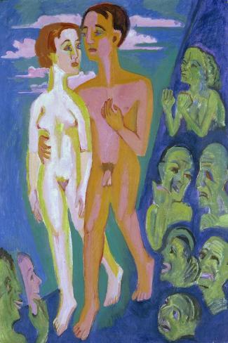 Das Paar Vor Den Menschen-Ernst Ludwig Kirchner-Stretched Canvas Print