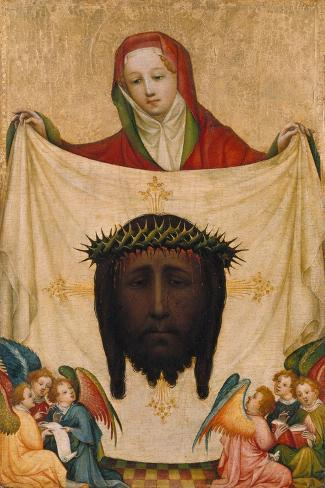 St. Veronica with the Shroud of Christ- Master of Saint Veronika-Stretched Canvas Print
