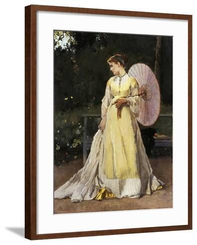 In the Countryside (Lady with Umbrella)-Alfred Emile L?opold Stevens-Framed Art Print