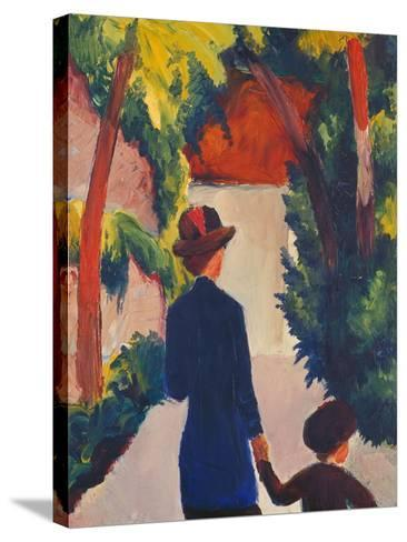Mother and Child in the Park-Auguste Macke-Stretched Canvas Print
