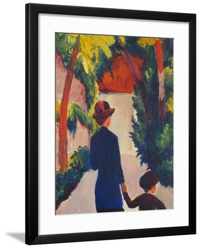 Mother and Child in the Park-Auguste Macke-Framed Art Print